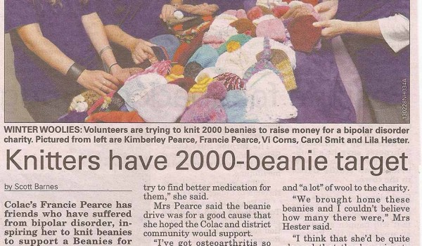 Knitters have 2000 beanie target – 11th March 2013