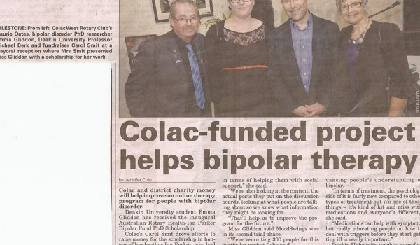 Colac funded project helps bipolar therapy – 6th March 2013