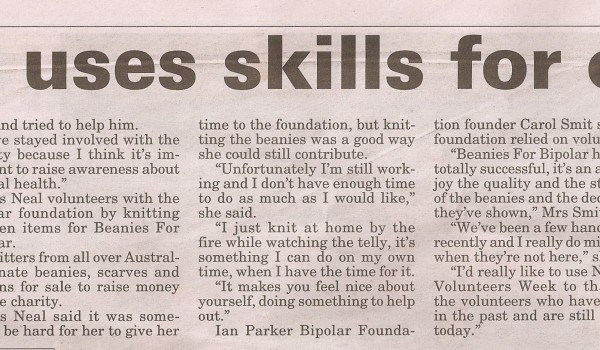 Knitter uses skills for charity (Page 6 story)